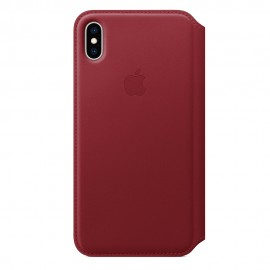 CUSTODIA APPLE FOLIO IN PELLE PER IPHONE XS MAX - (PRODUCT) RED
